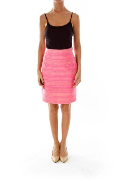 Pink Striped Pencil Skirt