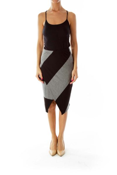 Black Gray Striped Asymmetrical Pencil Skirt