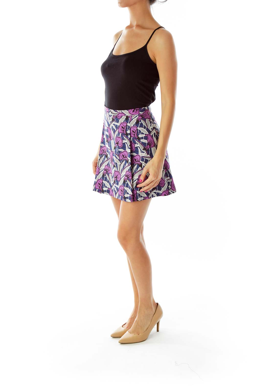 Blue Purple Flower Print Skirt