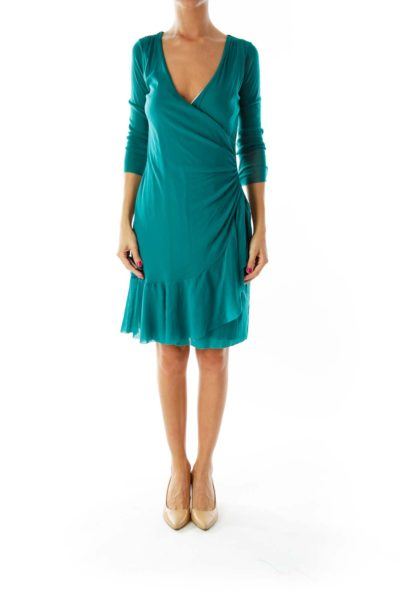 Green Patina Day Dress With Ruffle Wrap