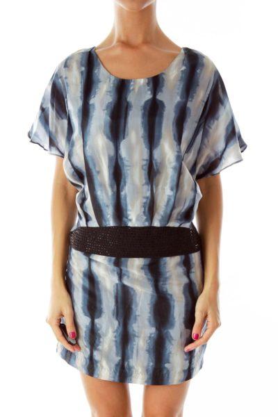 Blue Silk Beaded Dress