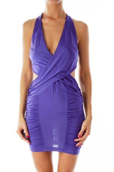 Purple Body-Con Cut-Out Cocktail Dress