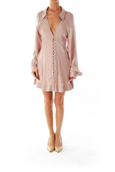 Dusty Pink Open-Front Buttoned Day Dress