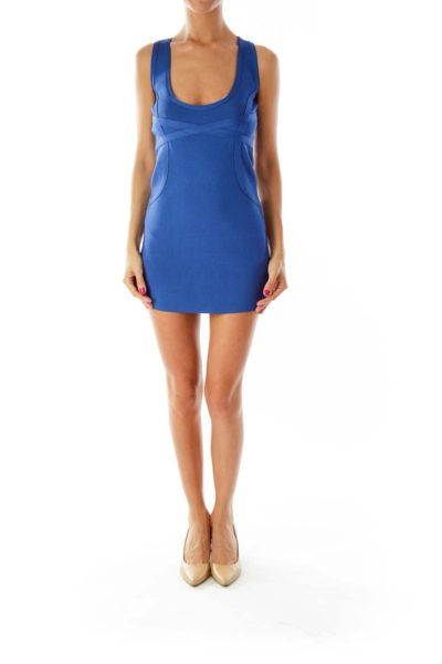 Blue Fitted Bodycon Dress
