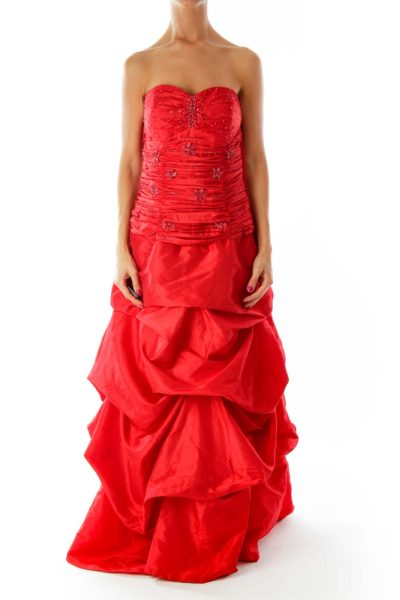 Red Strapless Evening Dress