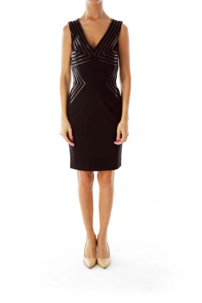 Black Geometric Detail Cocktail Dress
