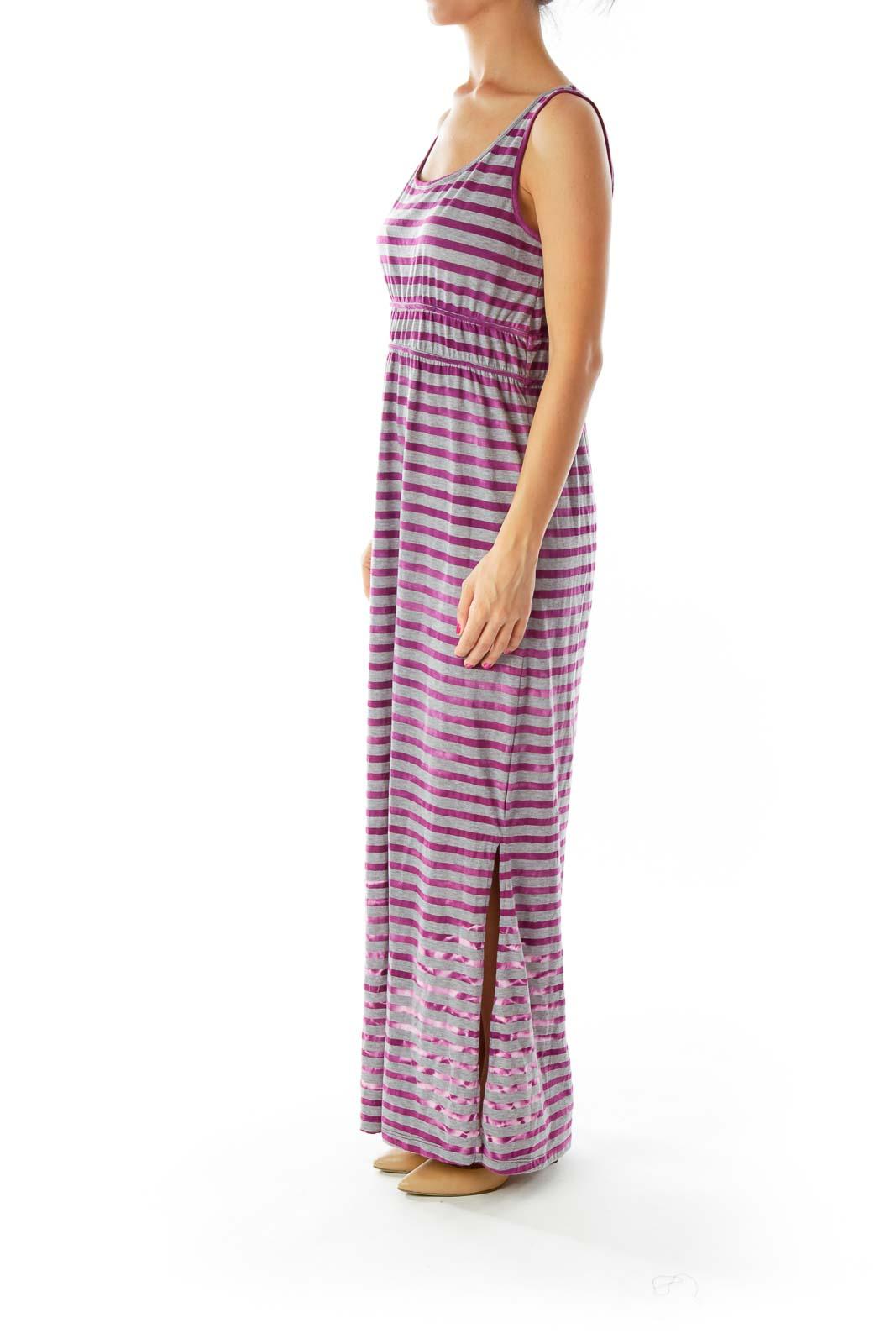 Purple Gray Striped Maxi Dress