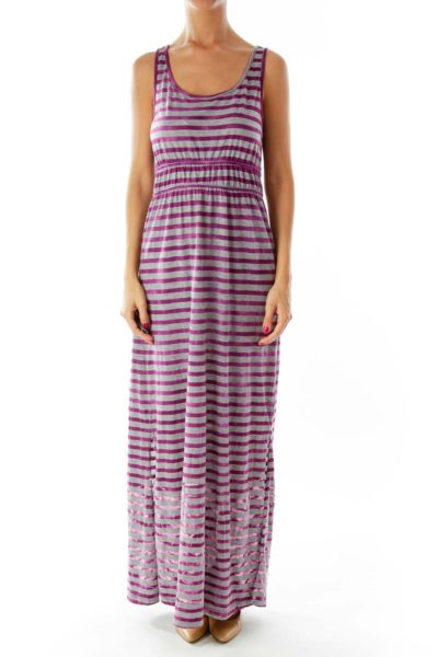 Purple Gray Striped Maxi Dress