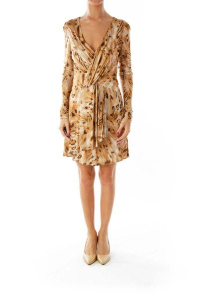 Brown Leopard Print Cocktail Dress