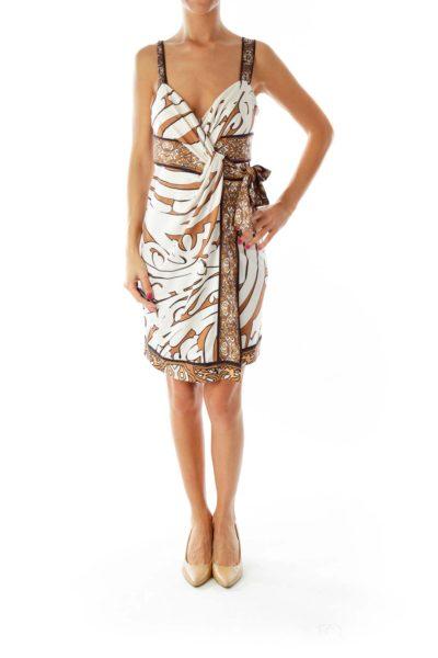 Brown Beige Wrap Day Dress
