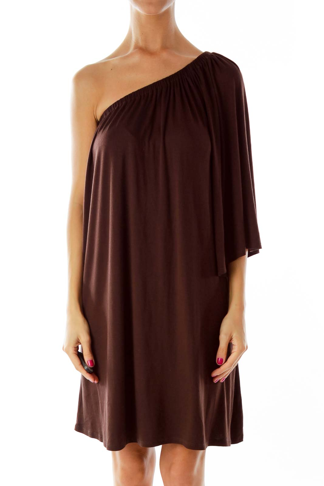 Brown One-Shoulder Cocktail Dress
