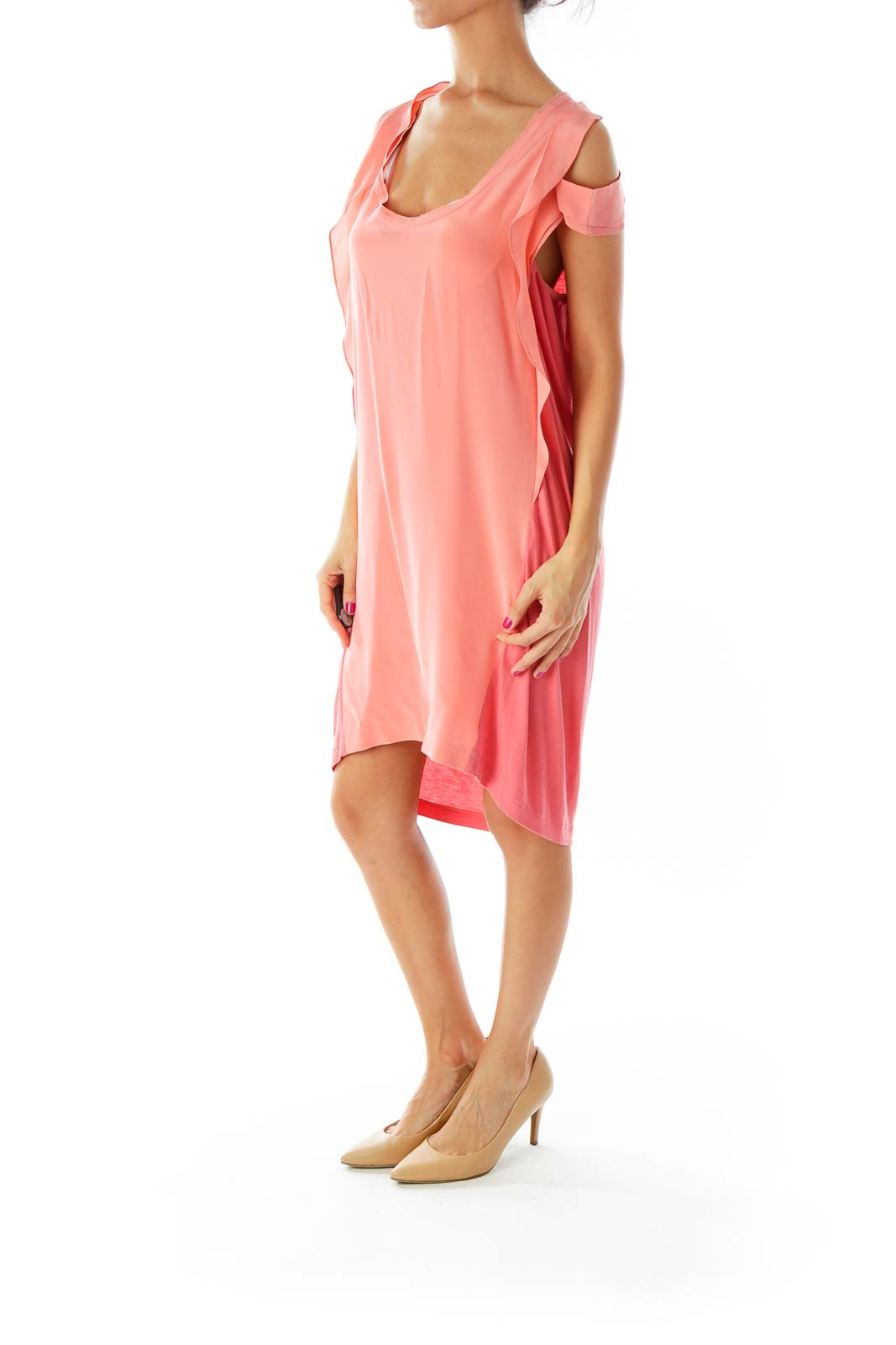 Pink Round Neck Ruffled Loose Day Dress
