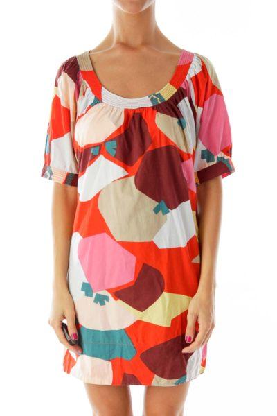 Multicolor Print Tent Dress
