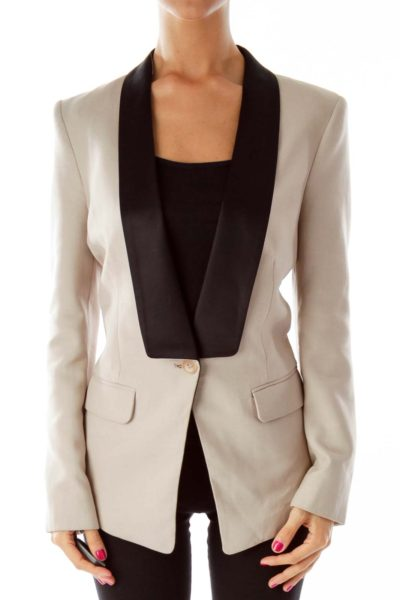 Beige Exaggerated Lapeled  Blazer