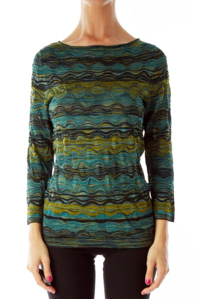Multicolor Ripple-Stitch Knit Top