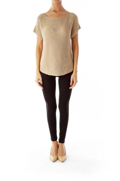 Gold Round Neck Knit Top