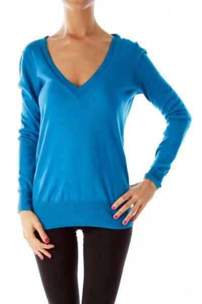 Cobalt Blue V-Neck Sweater