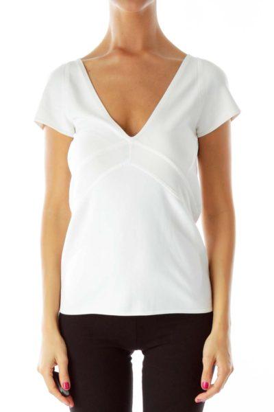 White V-Neck Fitted T-Shirt