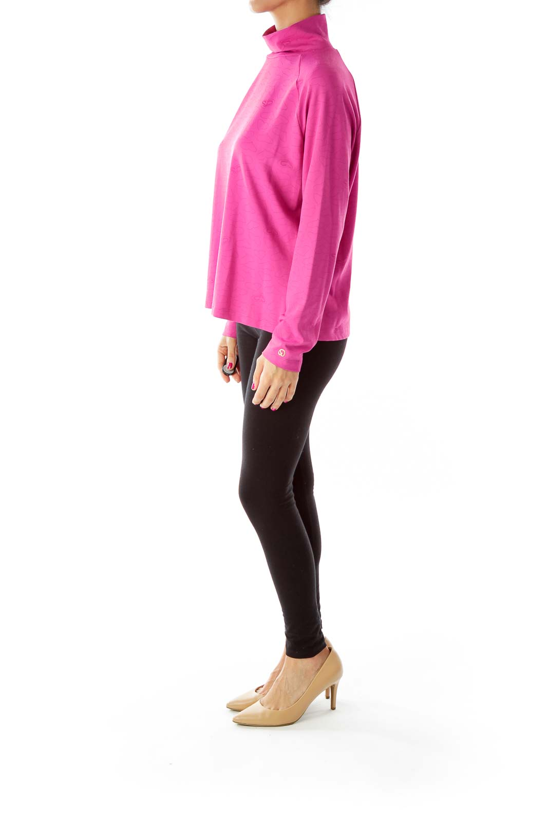 Pink Heart Turtleneck Top