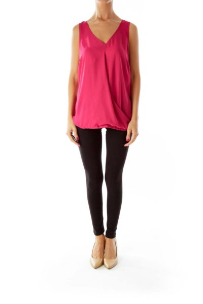Magenta V-neck Sleeveless Blouse