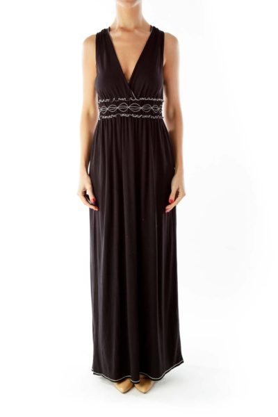 Black White Scrunched V-Neck Maxi Dress