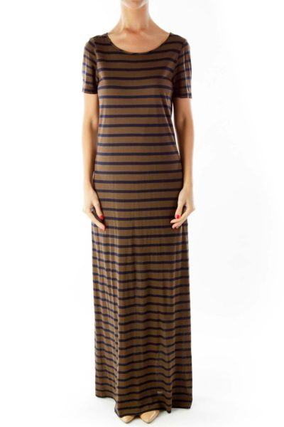 Brown Navy Striped Maxi Dress
