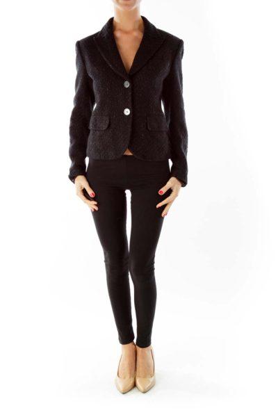 Black Sparkle Pocketed Jacket