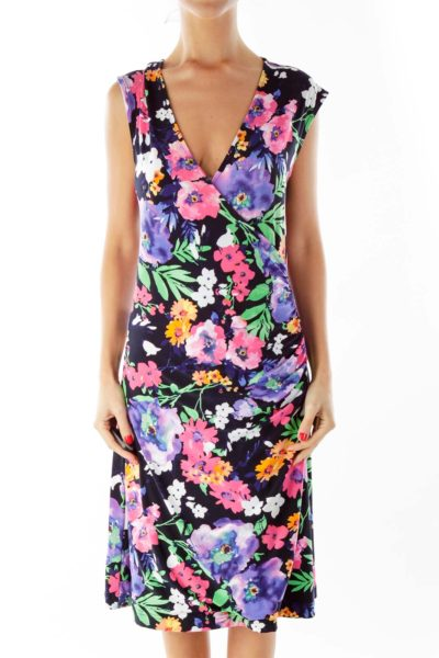 Multicolor Floral V-Neck Day Dress