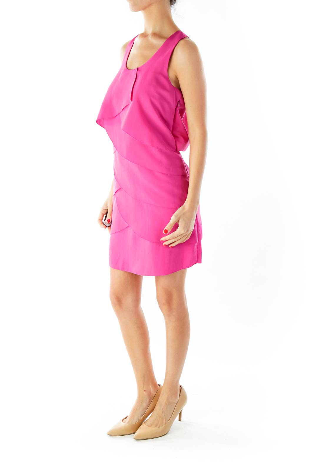 Magenta Round-Neck Ruffled Cocktail Dress