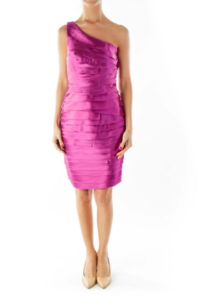 Purple Fitted Cocktail Dress
