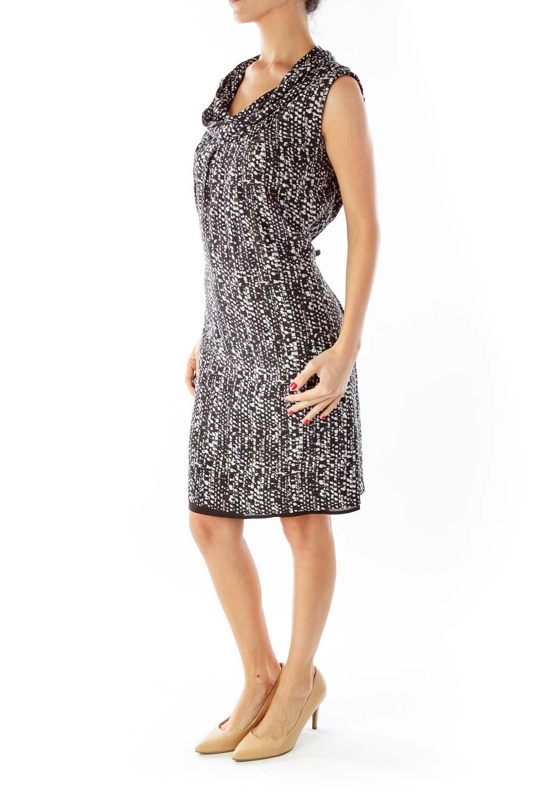 Black White Cowl Neck Day Dress