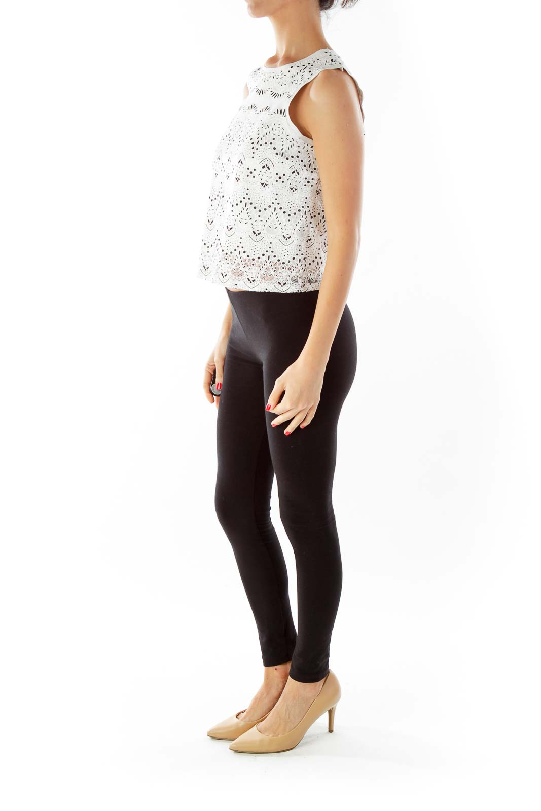 White Black Floral Lace Tank Top