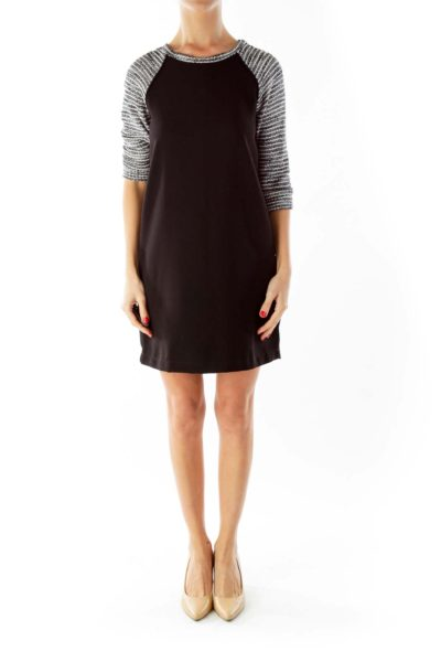 Black White Tweed Work Dress