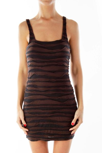 Black Brown Striped Fitted Dress