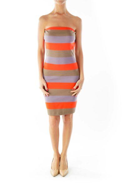 Orange Gray Purple Strapless Dress