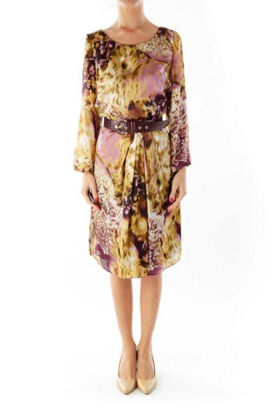 Purple Brown Print Belted Dress