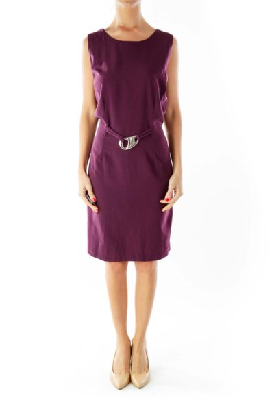 Purple Belted Fitted Dress