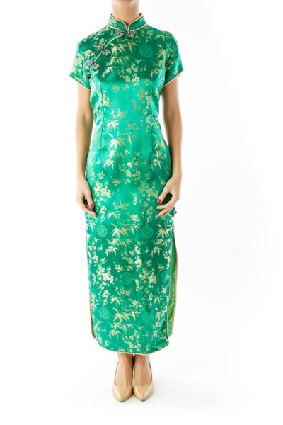 Green Gold Fitted Qipao
