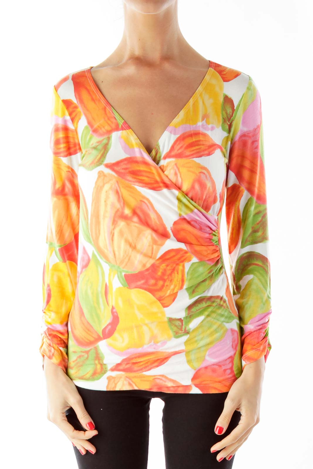 Orange Floral V-Neck Blouse