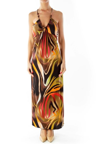 Multi-Color Zebra Print Maxi Dress