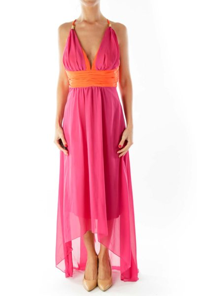 Orange & Pink Silk Maxi-Dress