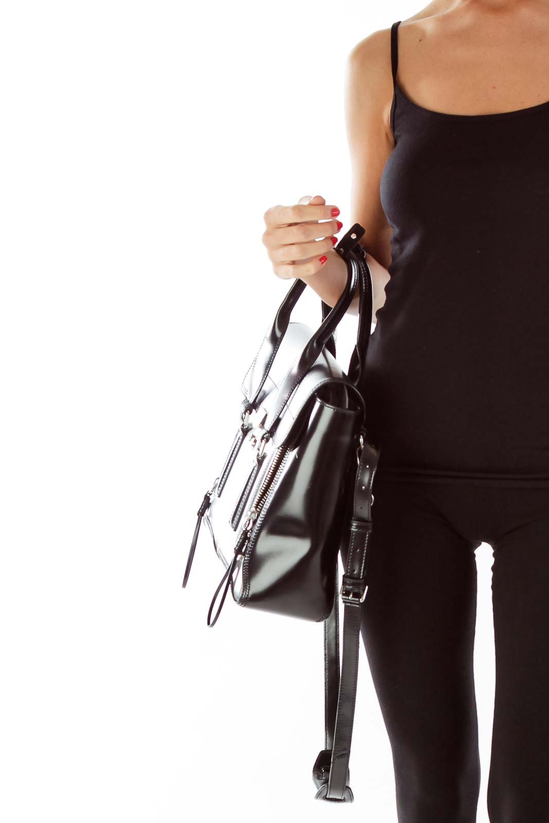Black Silver Zippered Satchel