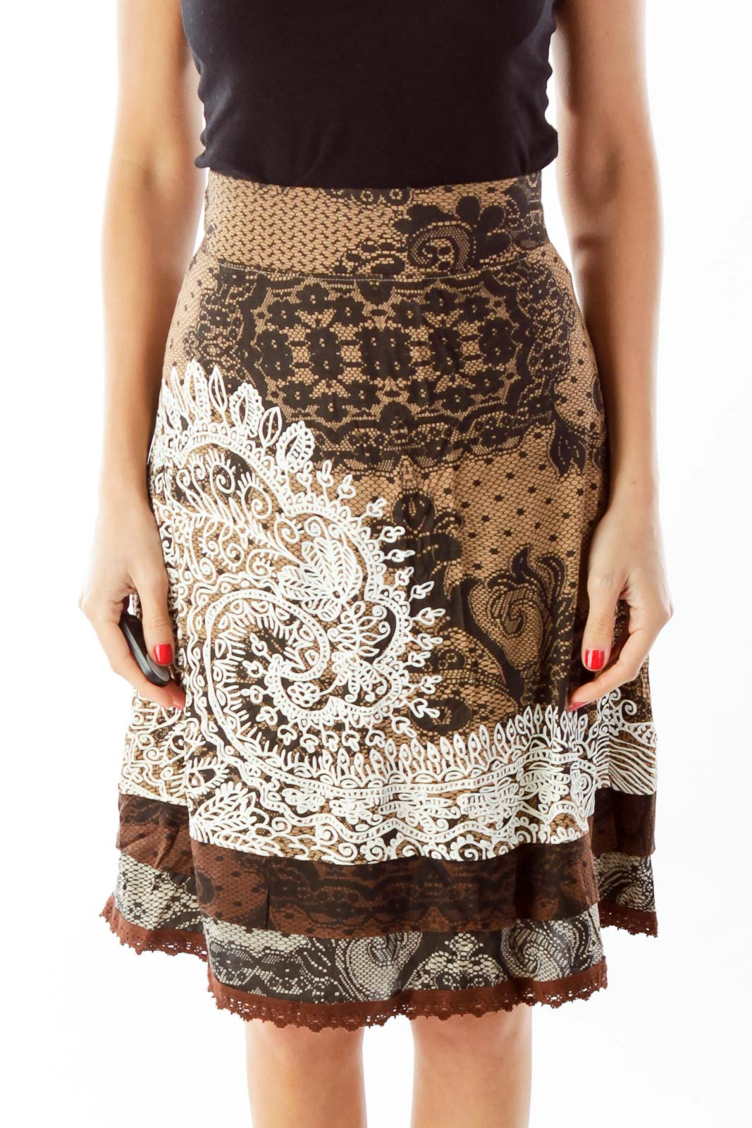 Brown Floral Print Skirt