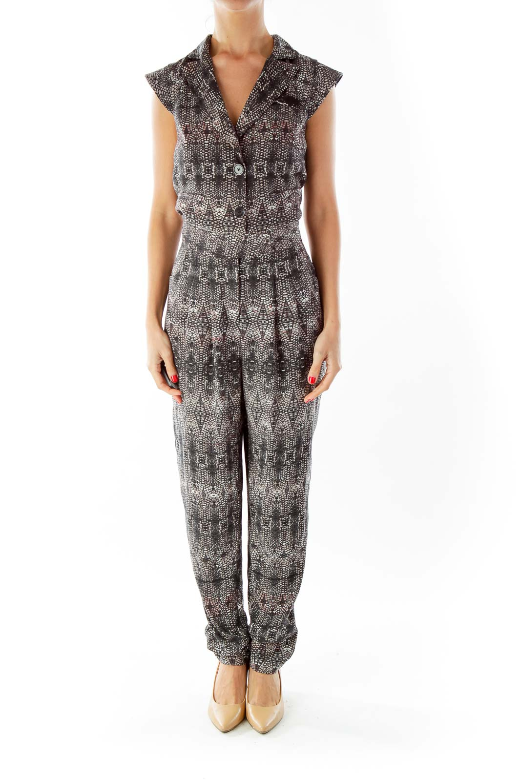 Brown Black Snakeskin Print Jumpsuit