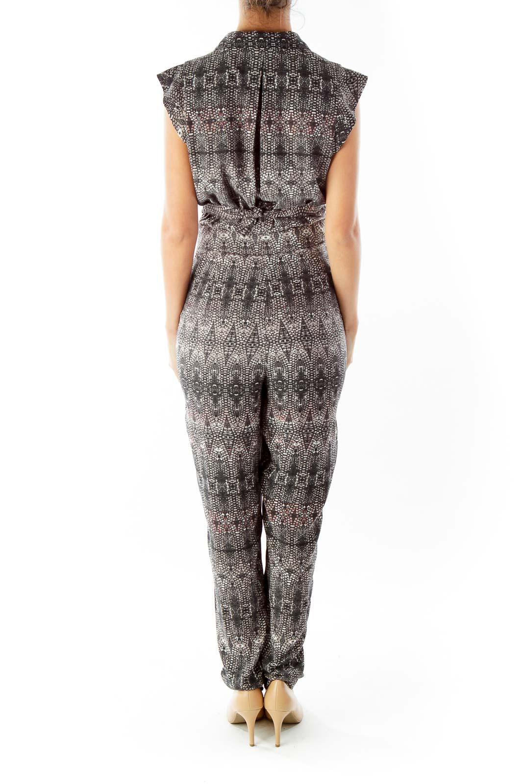 Brown Black Snakeskin Print Jumpsuit