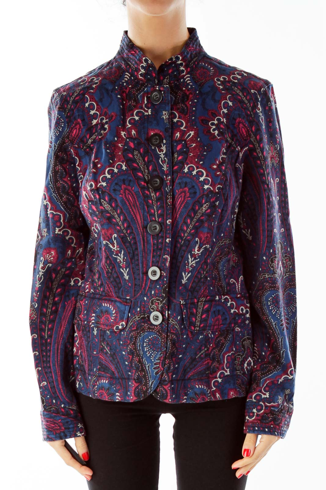 Navy Red Paisley Jacket