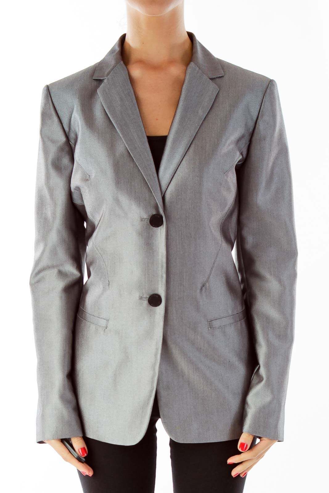 Silver Single-Breasted Blazer