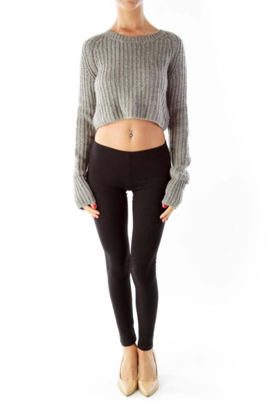 Gray Cropped Knit Top