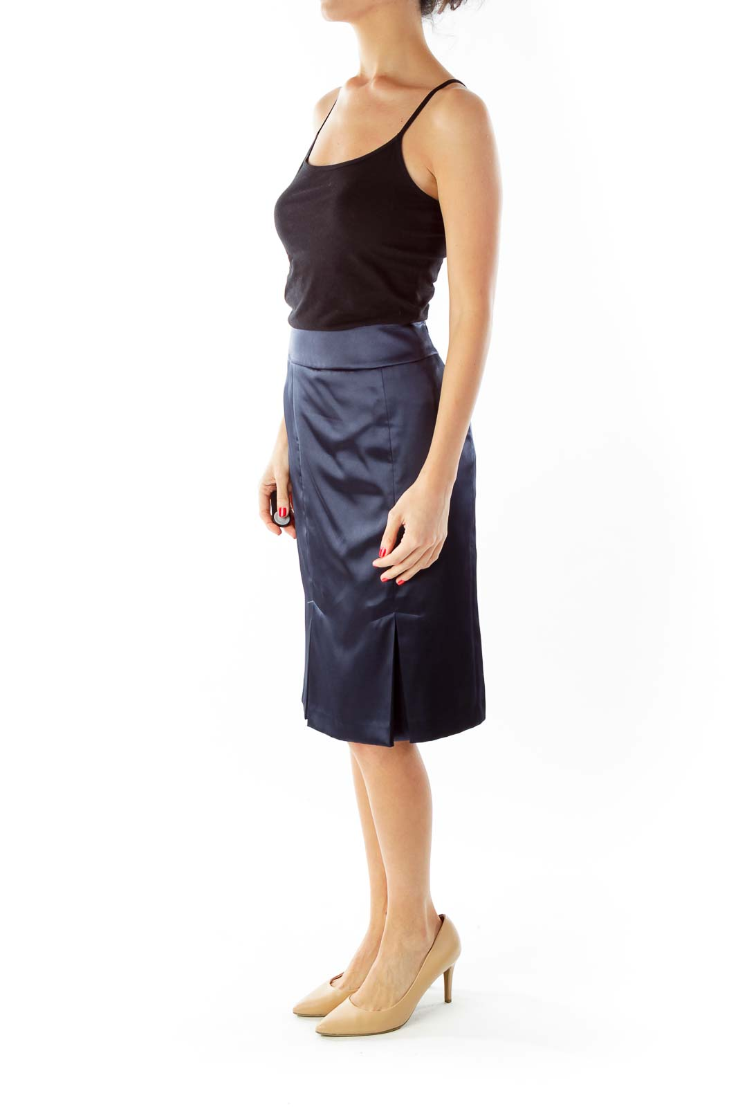 Blue Pleated Suit Skirt