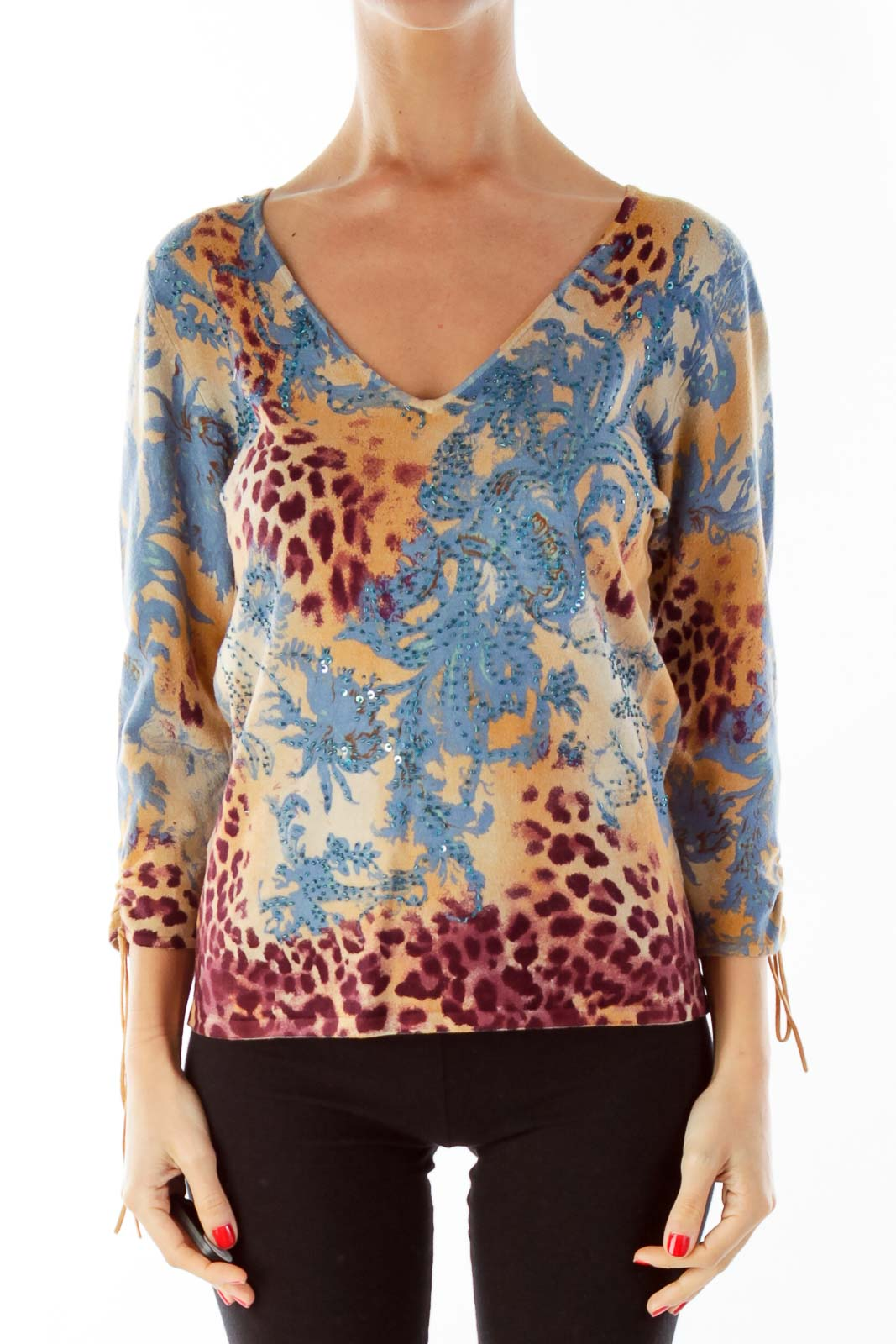 Brown Red Blue Beaded Blouse